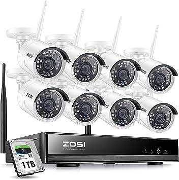 1,3MP C/ámara IP Exterior Visi/ón Nocturna Acceso Remoto en M/óvil ZOSI Kit de C/ámaras de Seguridad WiFi 960P Sistema de Vigilancia Inal/ámbrico 8CH HD Grabador NVR + 8 1TB Disco Duro
