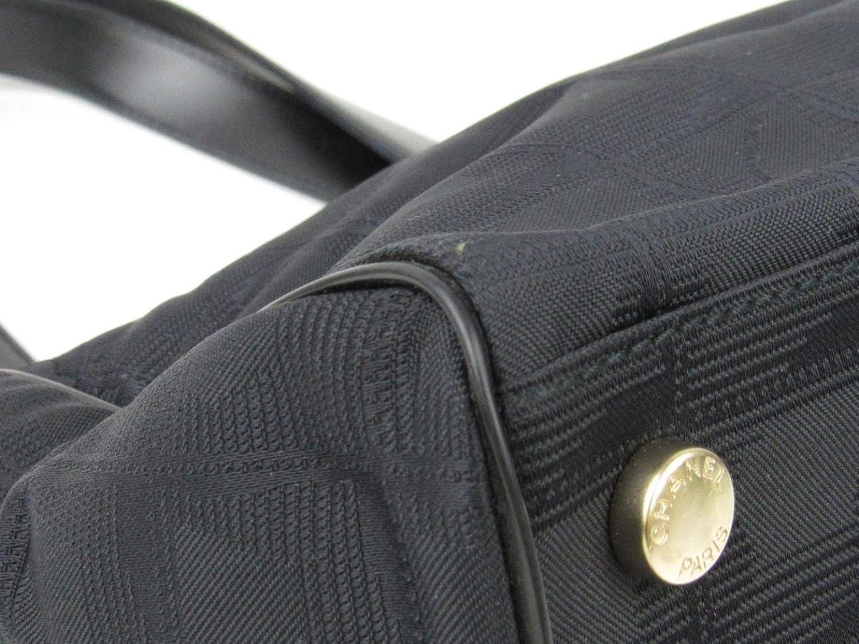 2d7a426a50ff メイン素材: ナイロンキャンバス x レザー. Authentic CHANEL New travel line handbag Nylon  Leather Black Used Vintage 商品コード:2101214045707 ランク:A