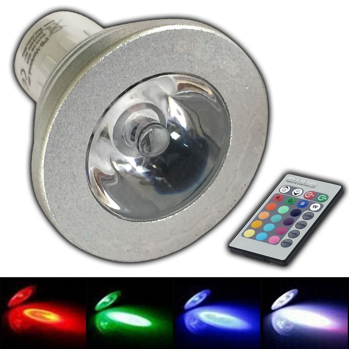 GU10 RGB LED - Farbwechsel Lampe 4 Watt mit Fernbedienung Farblicht ...