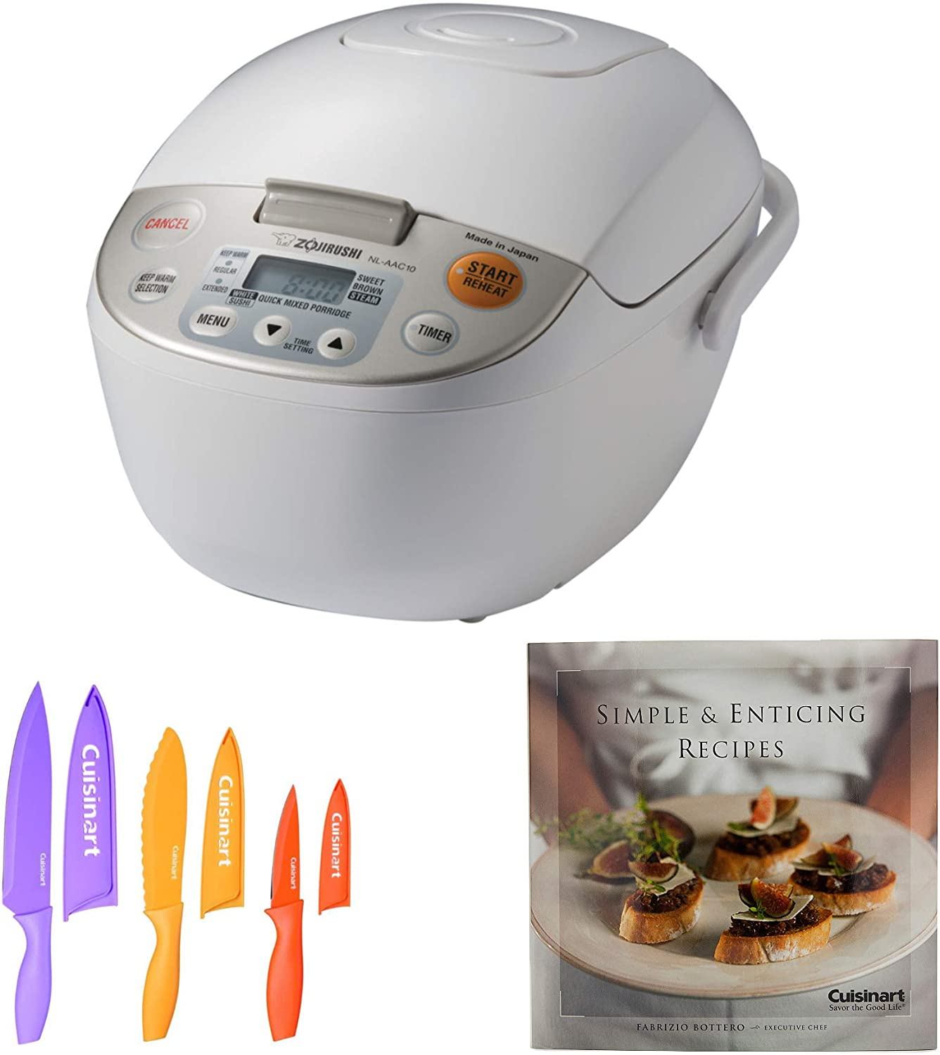 Zojirushi Micom Rice Cooker and Warmer (5.5-Cup) with 6-Piece Nonstick Chef Knife Set and Enticing Recipes Cookbook (3 Items)