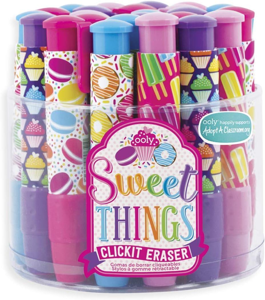 OOLY Click It Eraser, Eraser Pencil Set, Tub of 24 - Sweet Things
