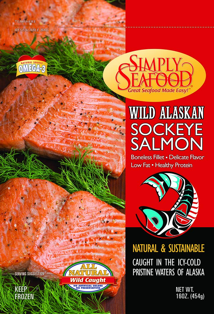 Simply Wild-Caught Alaskan Sockeye Salmon, 10 lb package, low fat, Omega 3, Healthy Protein, ready to cook
