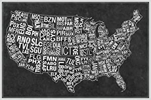 USA Airports Abbreviation Code Grey Cool Wall Decor Art Print Poster 36x24