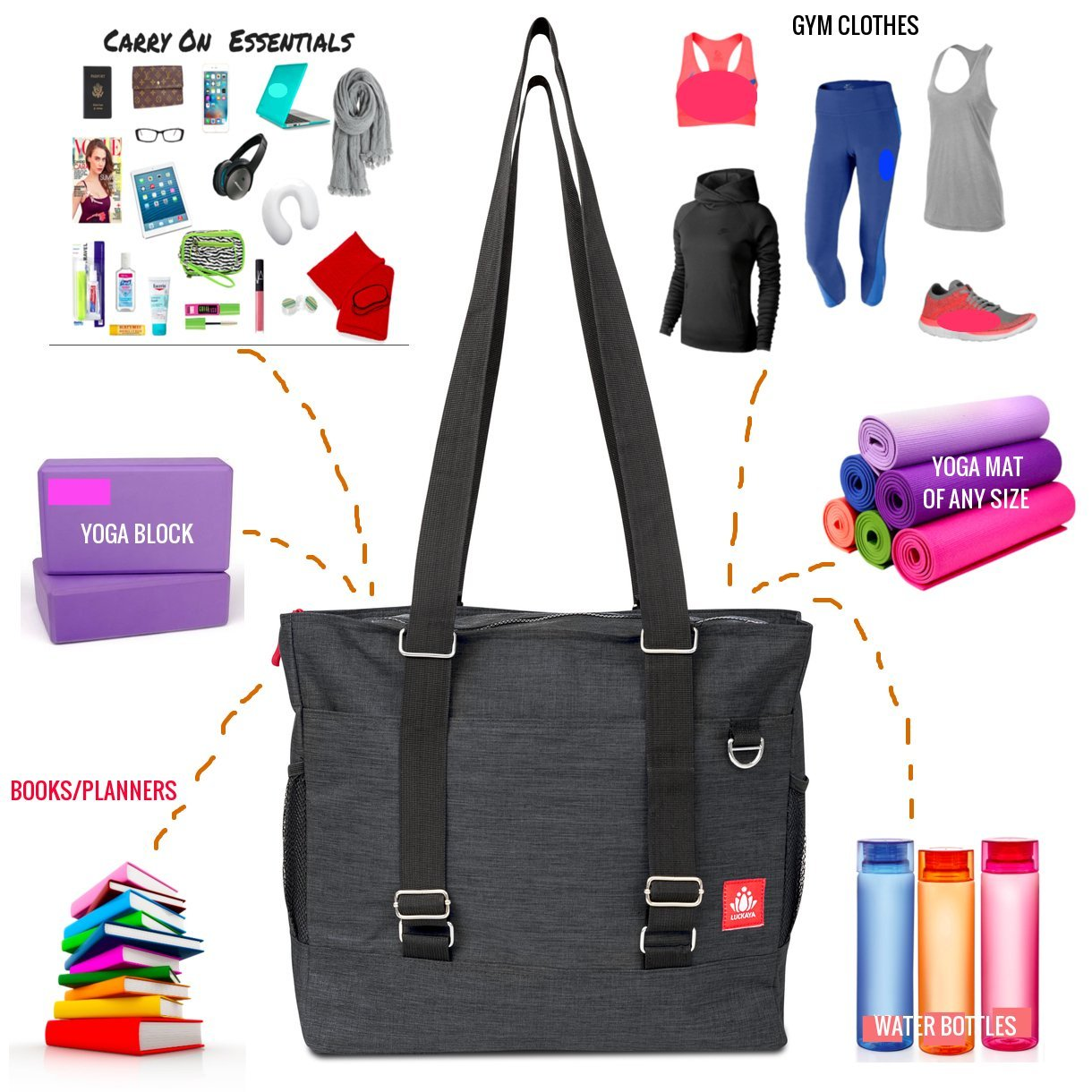 84de8bb77d Amazon.com   LUCKAYA Yoga Mat Tote Bag Backpack  Multi Purpose Carryall Bag  for Office