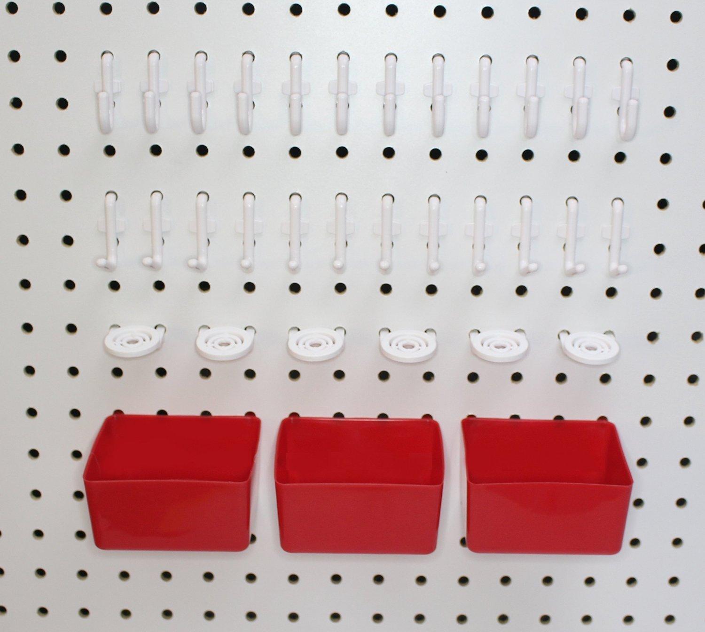 Peg Hook Kit 34 Piece 12 J Hooks & 12 L Hook & 6 Tool Holders & 04 Small Plastic Bins -Free Shipping Peg Board Storage System JSP Manufacturing