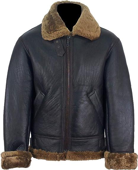 UNICORN Hommes peau de mouton volant Veste Brun avec Brun fourrure 'Airforce' aviateur en cuir manteau #S7