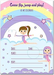 papery pop gymnastics birthday invitations with envelopes 15 count kids birthday party invitations