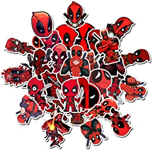 Marvel Deadpool Stickers for Laptop, Vinyl Waterproof Cool Graffiti Decals for Car Phone Pad Hydroflask Water Bottles PS4 Controller, Aesthetic Superhero Sticker Pack for Kids Toddlers Boy Teens 35pcs
