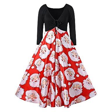 CARMELAA 2017 Christmas Plus Size Santa Claus Print Midi Dress Women Vintage 60s Rockabilly Elegant Female