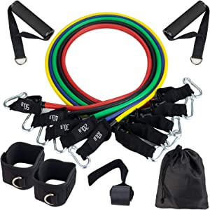 BHMS Resistance Bands Set (11pcs), Exercise Bands with Door Anchor, Handles,Legs Ankle Straps and Carry Bag-Stackable Up to 150 lbs-for Resistance Training, Physical Therapy, Home Workouts,Yoga