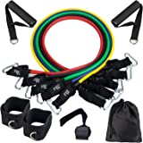 BHMS Resistance Bands Set (11pcs), Exercise Bands with Door Anchor, Handles,Legs Ankle Straps and Carry Bag-Stackable Up…