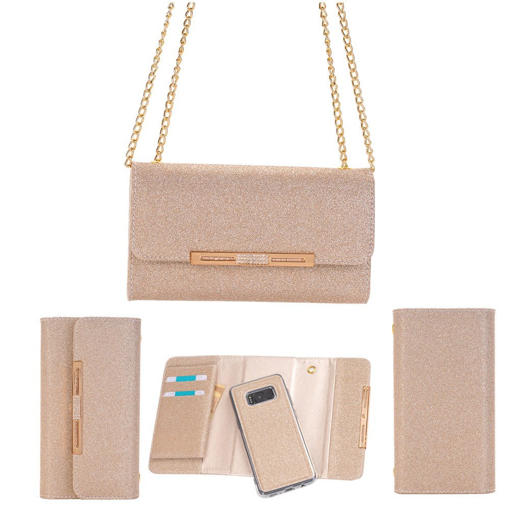 FuriGer Wallet Samung S7 Leather Case, PU leather wallet case with ID and Credit Card Pockets and Metal Chain Handbag Lady and women for Samung S7-Rose Gold