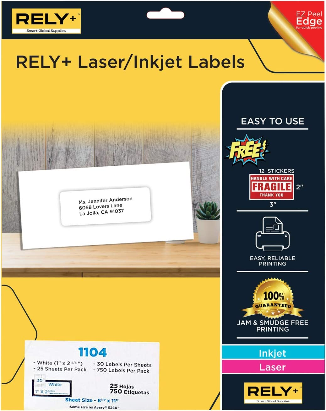 """Rely+ Address Labels, for Inkjet and Laser Printers. 1"""" x 2 5/8"""", 750 Labels. Great for FBA Labels. : Office Products"""