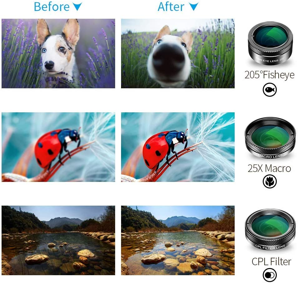 Fisheye Lens for iPhone Android Pixel Samsung with Travel case┃iPhone Camera Lens Set┃iPhone Lens Monocle Macro Lens Samsung with Travel case┃iPhone Camera Lens Set┃Fisheye Lens for iPhone