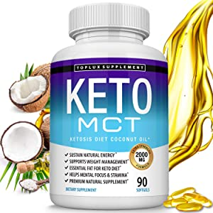 Keto MCT Oil Capsules Ketosis Diet - 2000mg Natural Pure Coconut Oil Extract Pills to Support Ketogenic Diet, Source of Energy, Easy to Digest for Men Women, Vegan, 90 Softgels, Toplux Supplement