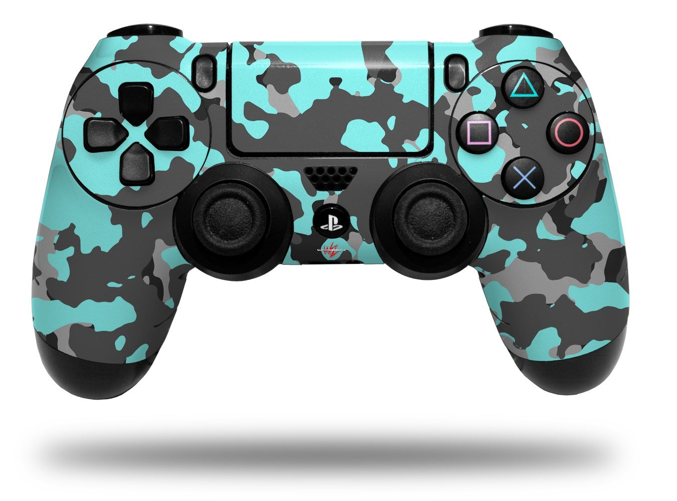 WraptorSkinz Skin compatible with Sony PS4 Dualshock Controller PlayStation 4 Original Slim and Pro WraptorCamo Old School Camouflage Camo Neon Teal (CONTROLLER NOT INCLUDED)