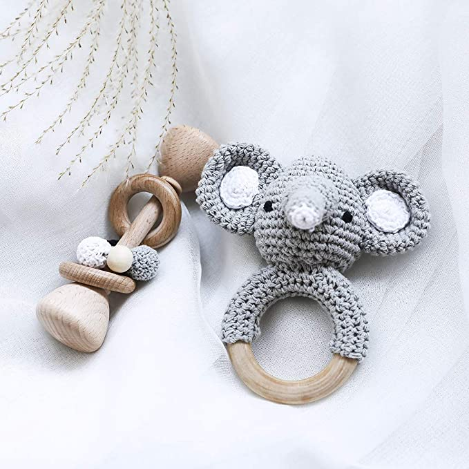 Baby Bracelet Wooden Elephant Teether Crochet Teething Infant Chewing Toy 6A