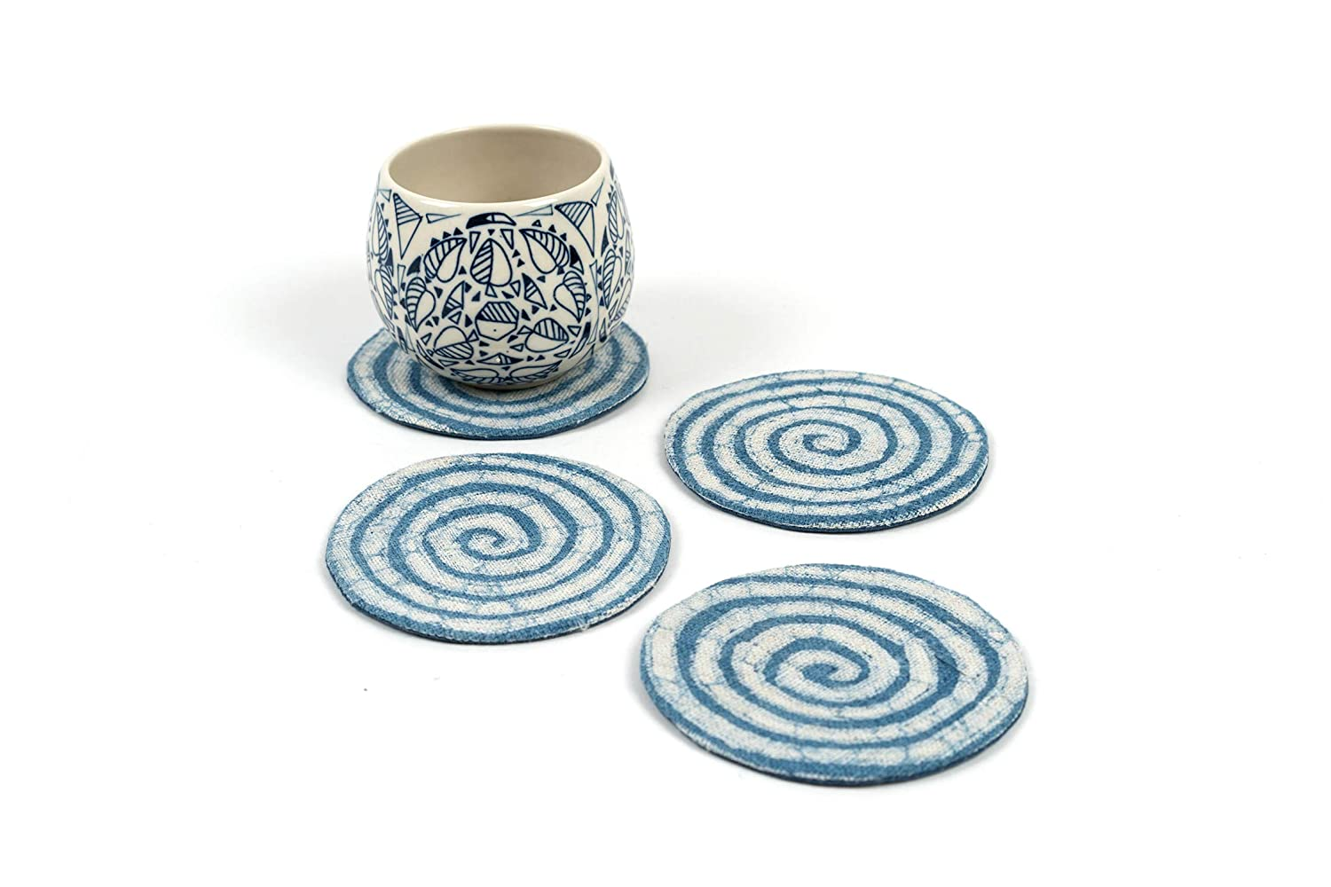 4 Inches Absorbent Coasters Organic Hemp Coasters for Drinks Absorbent Viethnic Set of 4 Handmade Ethnic Hmong Batik Fabric Drink Coasters Navy