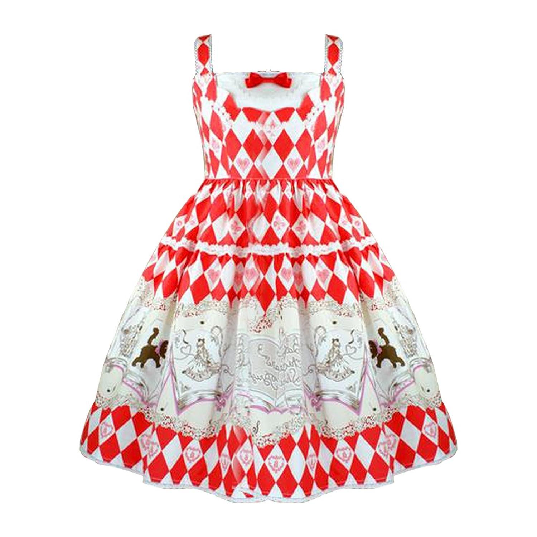 Partiss Women's Sweet Lolita Bowknots Ruffles Argyle Printed Strips Lolita Dress
