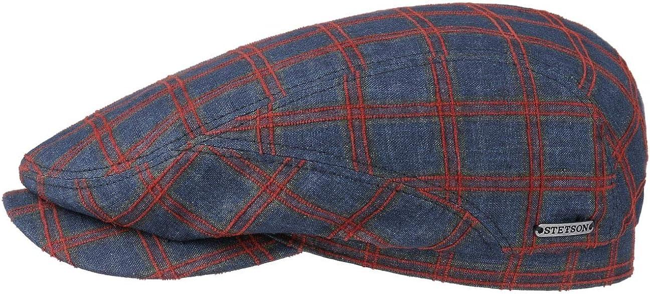 Made in The EU mit Schirm Futter Fr/ühling-Sommer Stetson Belfast Linen Check Flatcap Baumwollcap Leinencap Schirmm/ütze Schieberm/ütze Damen