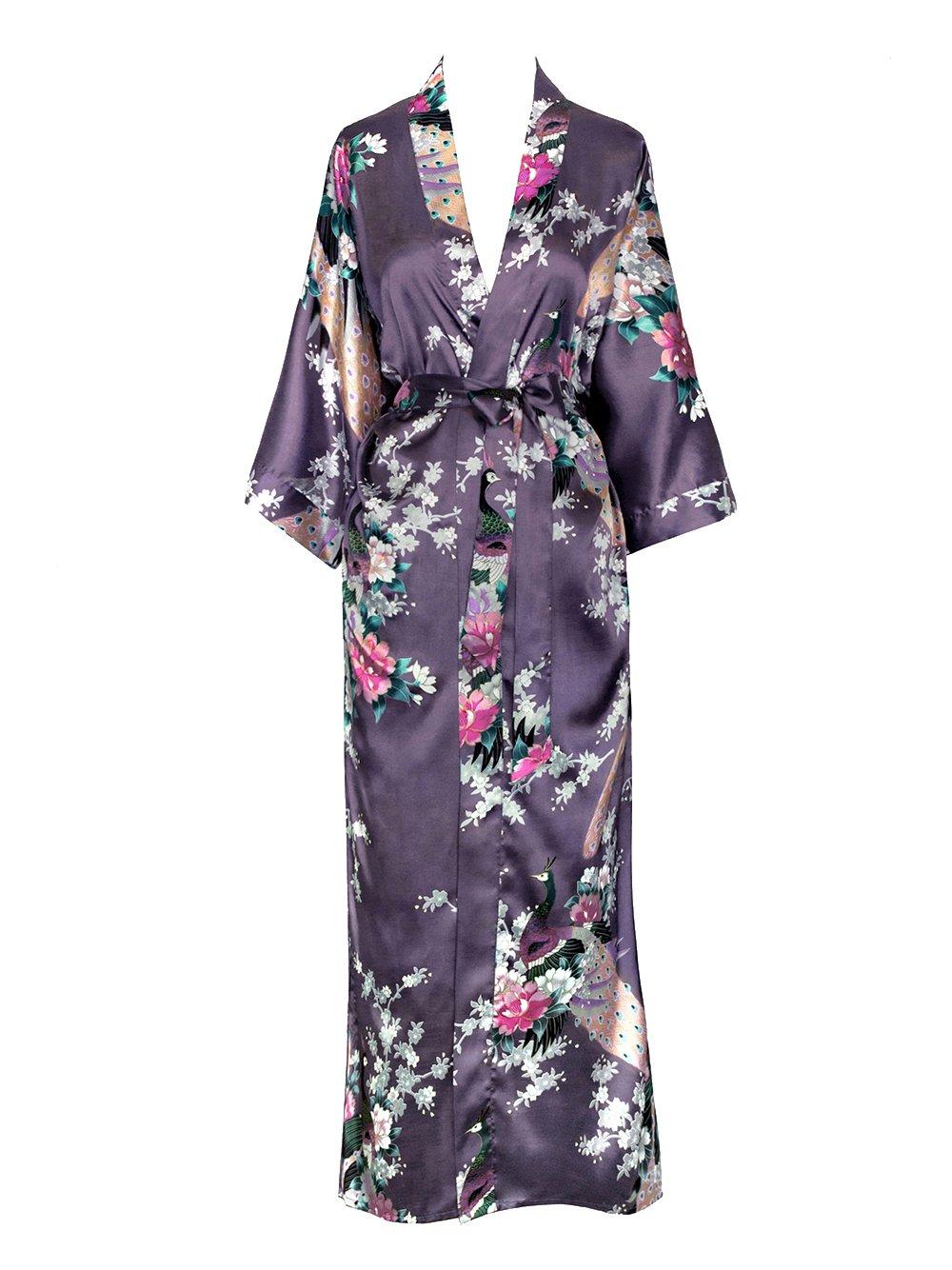 Old Shanghai Women's Kimono Long Robe - Peacock & Blossoms - Dusk (on seam pocket)