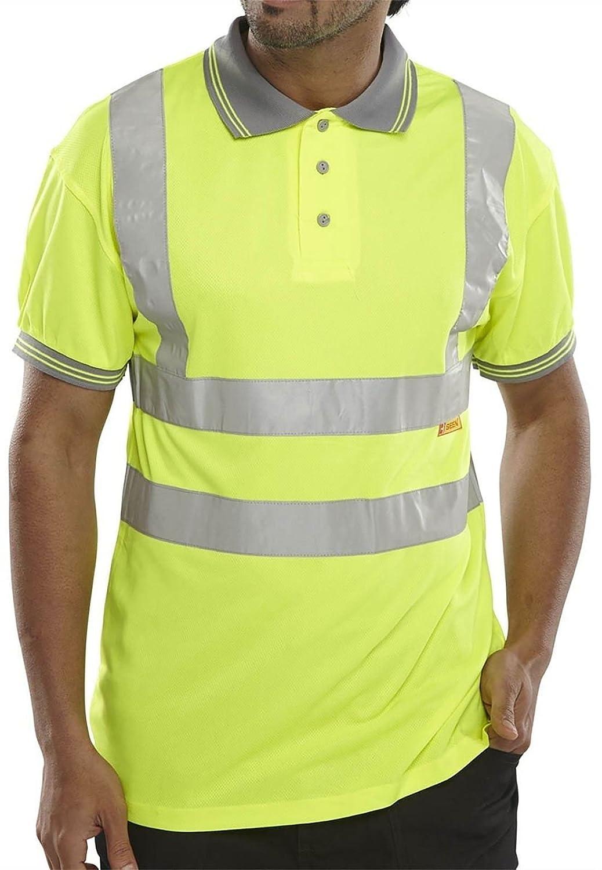 My Choice Stuff Mens Short Sleeve HI Viz Reflective Top Tees Security Work Wear Collared T Shirt Small//5X-Large