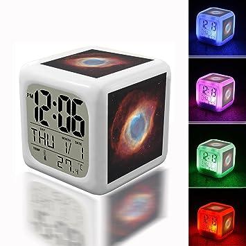Despertador digital termómetro noche Glowing Cube 7 colores Reloj LED personalizar el patrón 032. Azul Naranja y rojo exterior espacio foto: Amazon.es: ...