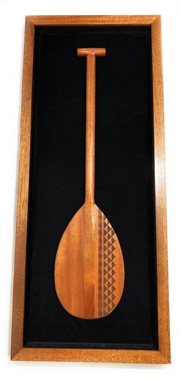 Koa Shadow box w/ Tribal Oar 42''X 18'' - Black Velvet - Made In Hawaii | #koasb09