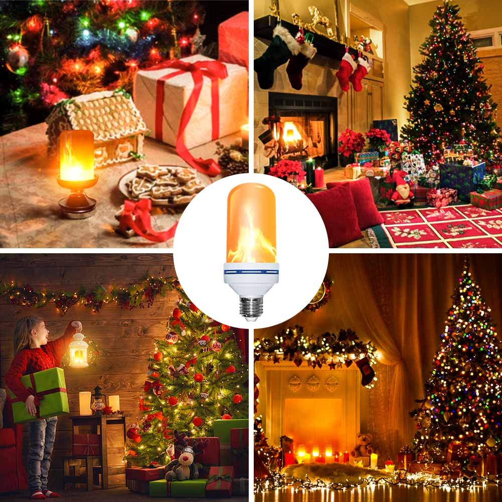 LED Light Bulbs -2018 Upgrade Version Flickering Flame Fire Bulb Lights Built-in Gravity Sensor Upside Down Vintage Atmosphere Flickering Fire Effect Decorative Light ( 1 Mode: Flicker Only)