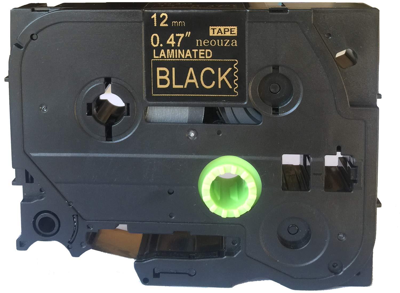 color TZe-335 White on Black pack de 5 unidades Cartucho de cintas de colores de 12 mm x 8 m compatible con Brother P-Touch Tze y Tz
