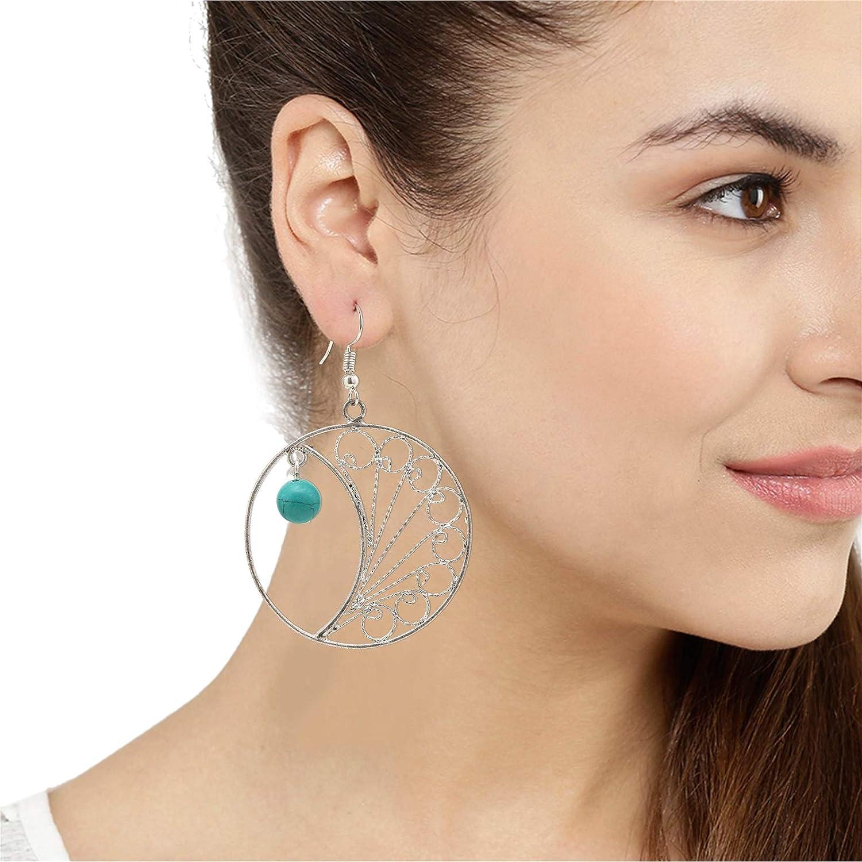 Color Lane Fashion Earrings Filigree Work in German Silver Green Beaded Hook Dangle For Women//Girls