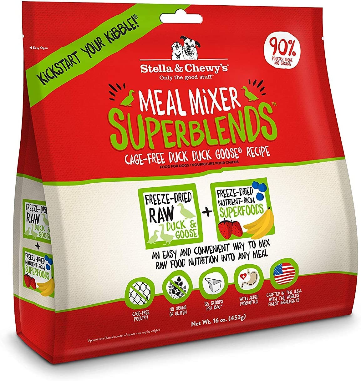 Stella & Chewy's Freeze-Dried Raw Meal Mixer SuperBlends Cage-Free Duck Duck Goose Recipe Grain-Free Dog Food Topper, 32 oz bag