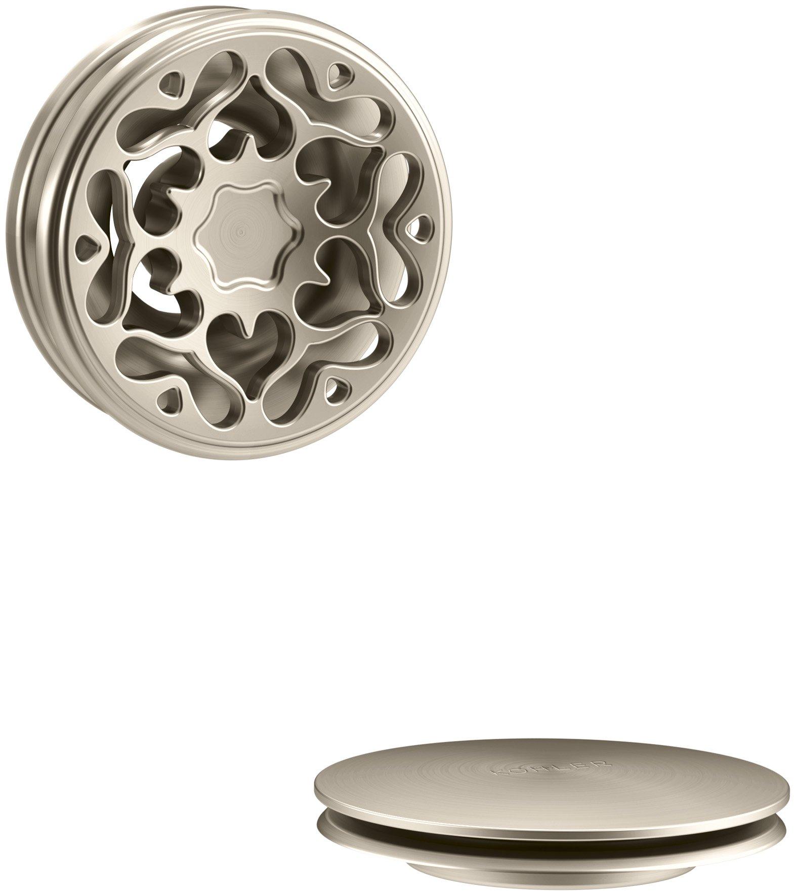 KOHLER K-T37397-BV PureFlo Cable Bath Drain Trim with Victorian Push Button Handle, Vibrant Brushed Bronze by Kohler