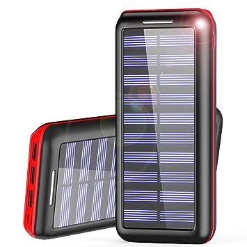 Powerbank AKEEM 24000mAh Verbessert Externer Akku, Solar Ladegerät Mit 3  USB Ausgängen (Lightning U0026
