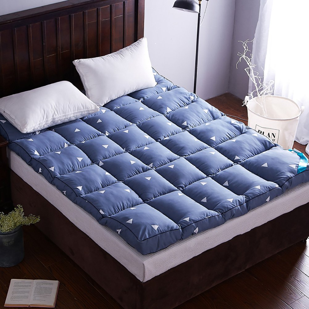DULPLAY スリップ 畳 式 マットレス ベッド,マットレス 通気性 ベッド カバー,10 cm thickn 暖かい ダブル 学生 マットレス プロテクター - 180*200cm B07F9MTD5B Blue 180*200cm