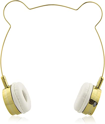 Lux Accessories Gold Bear Headphones Wire Frame Horns Headset w Microphone
