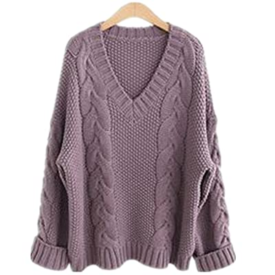Season Show Womens Winter V-Neck Thick Knitted Pullover Cropped Sweater