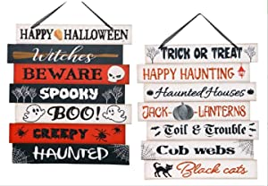 2 Piece Happy Halloween Wooden Slat Signs - Glitter and Metal Accents- Indoor/Outdoor Spooky Trick or Treat Decor