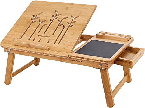 Songmics Klappbarer Laptoptisch Für Sofa Oder Bett Betttisch Mit Handy Stifthalter Und Schublade Neigungswinkel Verstellbar Notebooktisch Aus Bambus 55 X 23 X 35 Cm B X H X T Lld006