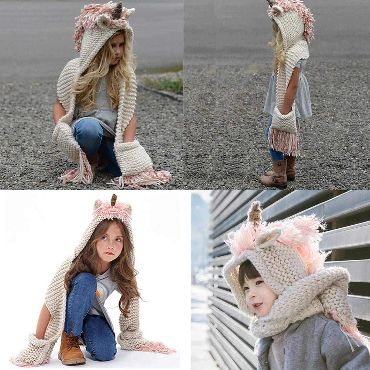 6-16 anni cartoon unicorno con cappuccio sciarpa cappello invernale sciarpa tasca con cappuccio maglia cappellini party Cosplay regali per bambini Girls Unicorn cappello con sciarpa a maglia