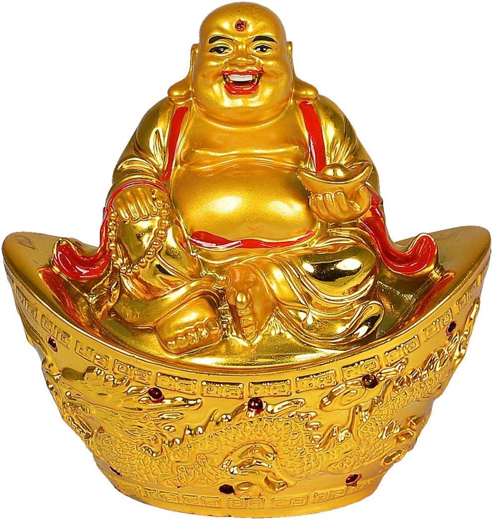 Laughing Buddha Gold Ingot for Wealth & Success Boat Dragon Vastu/Feng Shui Home Decor Diwali Gift