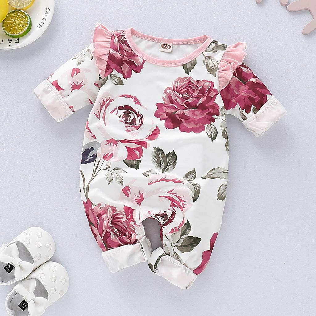 Newborn Infant Baby Girls Romper Long Sleeve Ruffles Floral Print Jumpsuit Infant Toddler Outfits Clothes