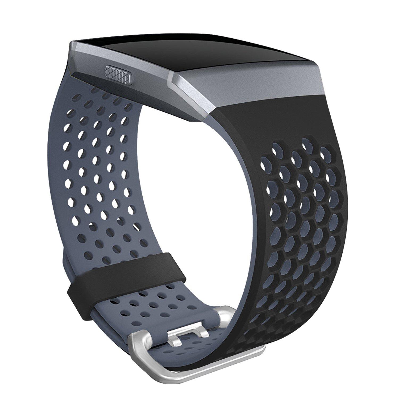 SKYLET Fitbit Ionic用バンド ソフトシリコン通気性 交換リストバンド Fitbit Ionic用スマートウォッチ バックル付き(トラッカーなし) Large|ブラック-グレー ブラック-グレー Large B0775Y786J