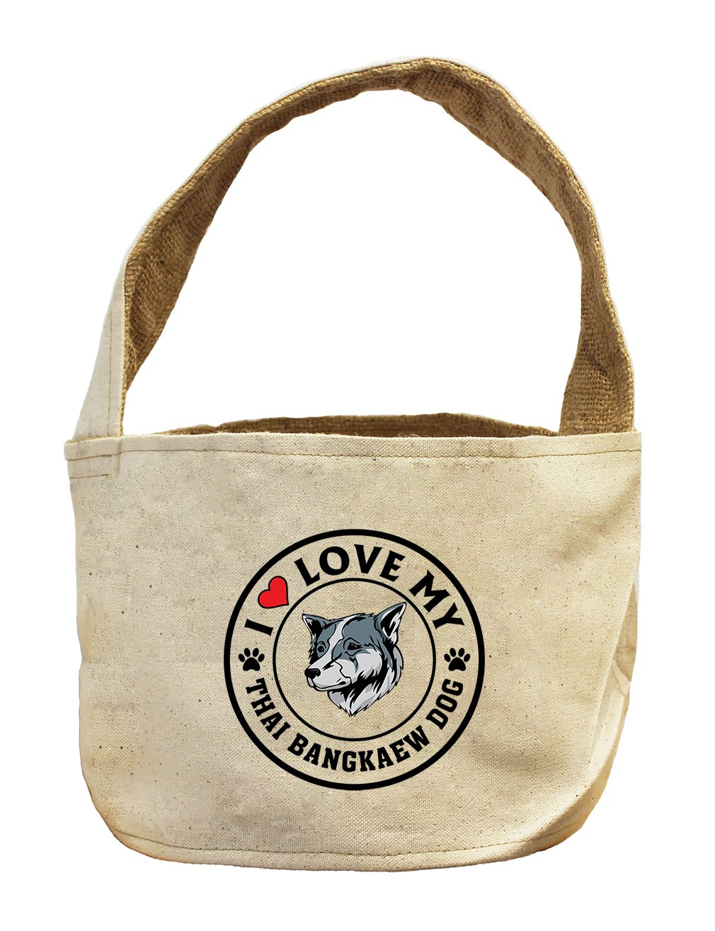 Style in Print Canvas/Burlap Basket I Love My Thai Bangkaew Dogdog Style 1