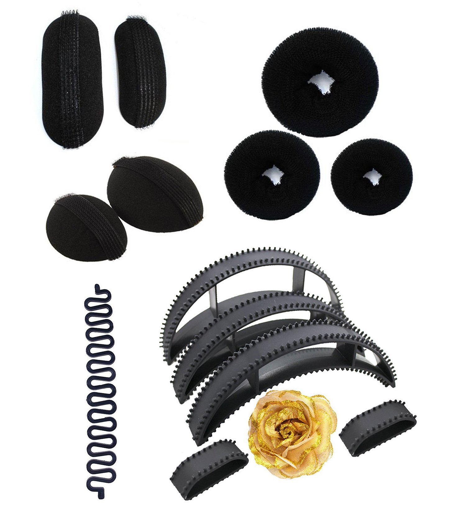Majik Combo Of Women Hair Accessories Styling Tools, Juda Accessories For Wedding Girls black Pack Of 1 (14 Pcs Combo) product image