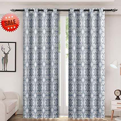 Haperlare Blackout Bedroom Curtains,Floral Pattern Thermal Insulated  Blackout Window Drapes for Bedroom,Medallion Grommet Top Curtains - W52 x  L84 ...