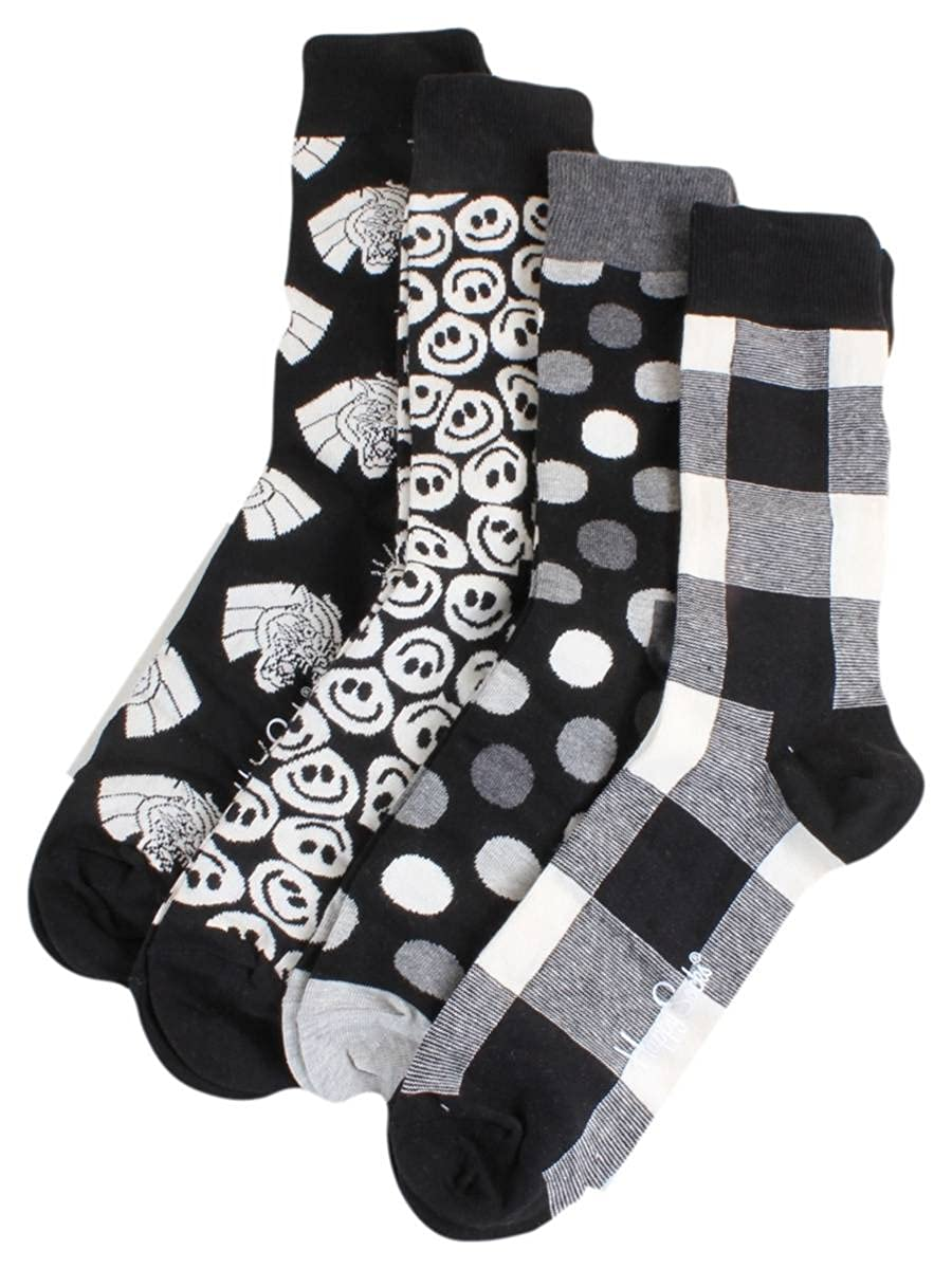 Happy Socks Black & White Gift Box, Calzini Donna (Pacco da 4) Multicolore (Anthrazit 9003) Taglia Unica(Pacco da 4) XBLW09