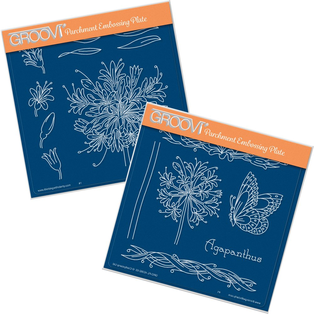 Groovi Plates A5 Square - Jayne's Agapanthus (Set of 2) Claritystamp