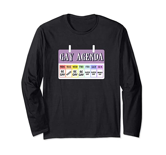 c328494c2 Unisex LGBT Shirt Long Sleeve Pushing My Gay Agenda Tacos Pride Small  Black. Roll over image to ...