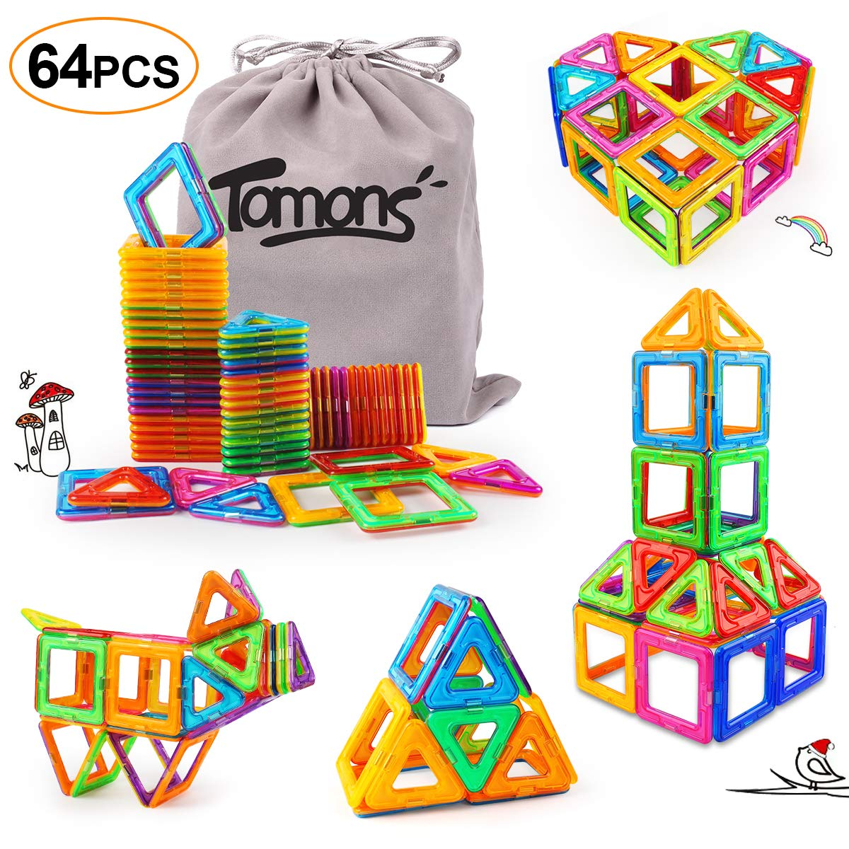 Tomons Magnetic Building Blocks Set, Magnetic Tiles Educational Construction Building Toys for Boys and Girls - 64 pcs by Tomons